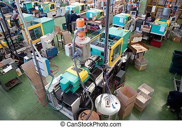 injektion, formning, maskiner, ind, en, store, fabrik