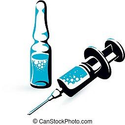 injektionerna, grafisk, ampull, medicinsk, disponibelt, ...