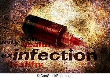injektionssprøjte, og, hjælpemidler, infektion, grunge,...