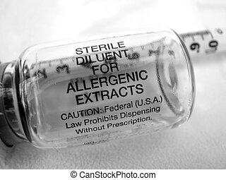 injektionssprøjte, og, vial