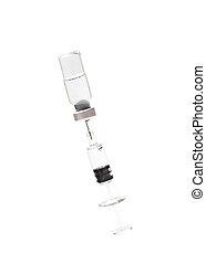 injektionssprøjte, og, vials, på hvide