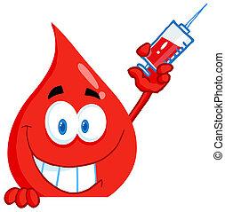 injektionsspruta, grabb, blod, holdingen
