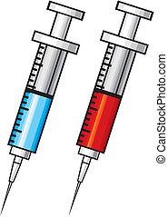 injektionsspruta, med, vaccin, illustration
