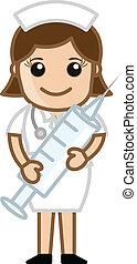 injektionsspruta, söt, sköta, holdingen