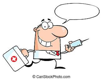injektionsspruta, spring, läkare