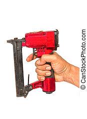 injetor prego, carpinteiro, ferramentas, ar, ou, nailer