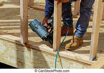injetor prego, madeira, trabalhador, ar, pregar