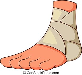 Injured ankle icon, cartoon style