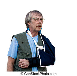 injured arm in sling - man with injured arm in a sling...