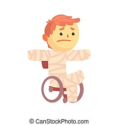 Injured boy character in gypsum sitting in a wheelchair suffering from pain cartoon vector illustration