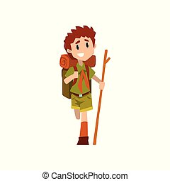 Injured boy scout character in uniform with broken leg and wooden stick, outdoor adventures and survival activity in camping vector Illustration on a white background
