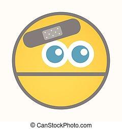 Injured - Cartoon Smiley Vector