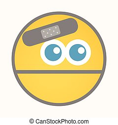 Injured - Cartoon Smiley Vector