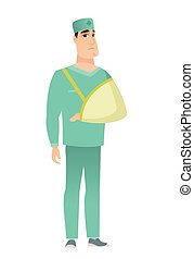 Injured doctor with broken arm. - An injured caucasian ...
