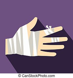 Injured hand wrapped in bandage icon, flat style - Injured...