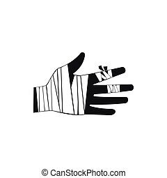 Injured hand wrapped in bandage icon, simple style - Injured...