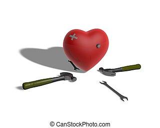 Injured heart three-dimensional
