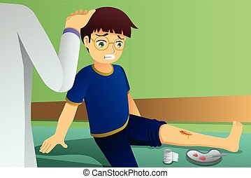 Injured Kid in Doctor Office Illustration