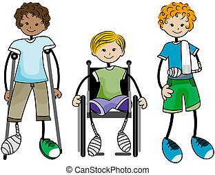 Injured Kids with Clipping Path