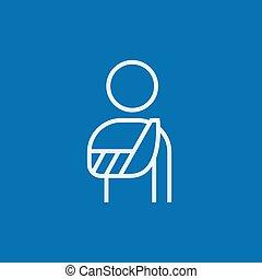 Injured man line icon.