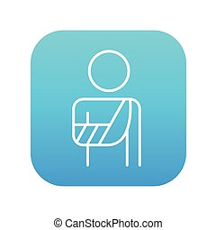 Injured man line icon. - A man standing with broken arm in...