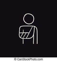 Injured man sketch icon.