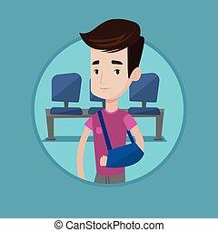 Injured man with broken arm vector illustration.