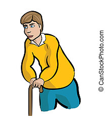 Injured Man with Cane - Man with injury leaning on a cane