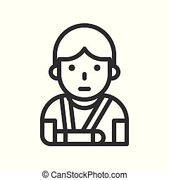 injured patient with broken arm and arm sling outline icon.