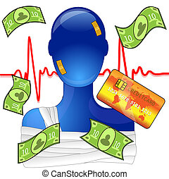 Injured person with money and creditcard, expensive medical ...