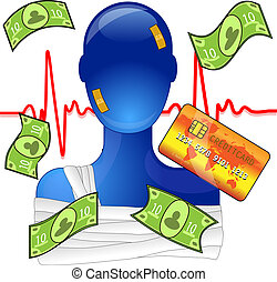 Injured person with money and creditcard, expensive medical...