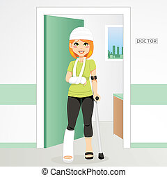Injured redhair woman having head bandage, broken ankle and wrist cast walking with crutch
