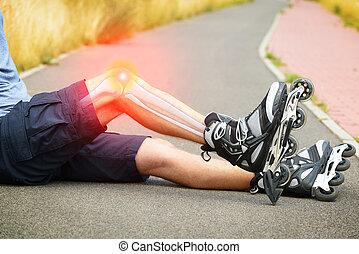 Injured skater with painful leg - Injured skater sitting...