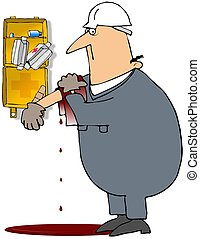 Injured Worker - This illustration depicts a worker covering...