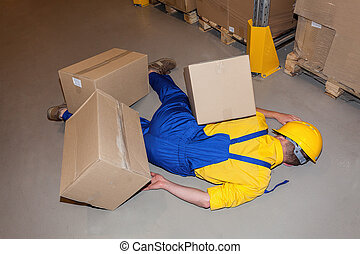 Injured worker - Warehouse worker after accident hit by ...