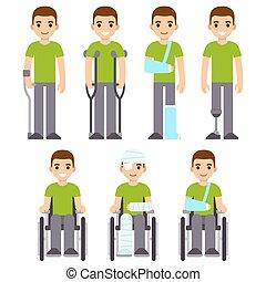 Injury and trauma cartoon man set. Character with crutches...