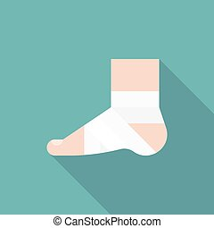 Injury Ankle and foot wrap in white elastic bandage icon, concept of first aid for trauma , accidental or over exercise
