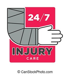 Injury care 24/7 promotional emblem with broken arm