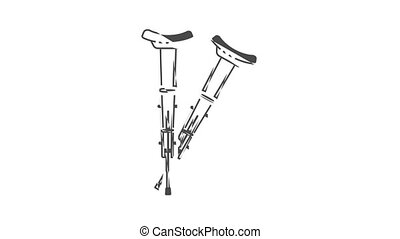 Injury crutches icon animation. Motion set of best icons and then each objects is shown separately