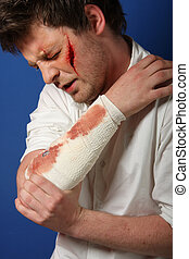 Man in great pain after in injury