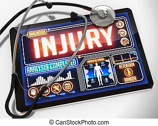 Injury on the Display of Medical Tablet. - Injury - ...