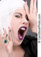 injury - picture of screaming wounded woman face over grey