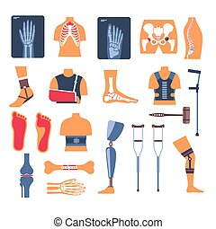 Injury recovery, bone fracture and crutches, X-ray and orthopedic tools