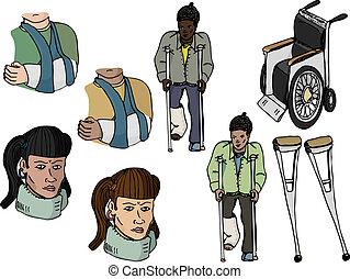 Injury Set I - Nine various injury-related illustrations...