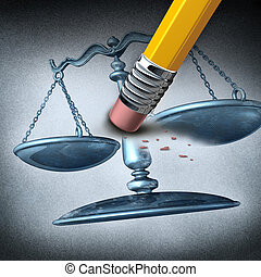Injustice and discrimination as a legal system concept for breaking the law and performing unfair illegal acts as a pencil eraser erasing a justice scale as a metaphor for inequality and the stress of oppression.