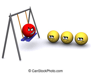 The big and angry person does not allow to drive small on a swing