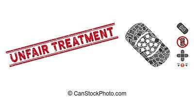 injusto, mosaico, tratamiento, sello, grunge, bandaid, ...
