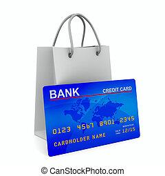 inköp, avbild, isolerat, kreditera, bag., kort, 3
