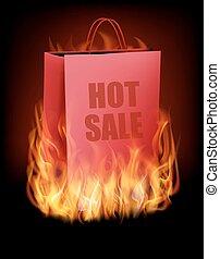 inköp, bakgrund, försäljning, fire., väska, varm, vector.