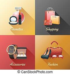 inköp, begrepp, design, kvinnor